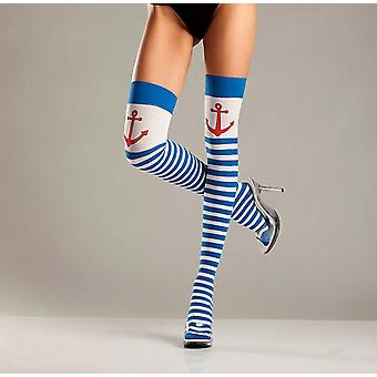 Be Wicked BW644 Anchors Away striped thigh highs