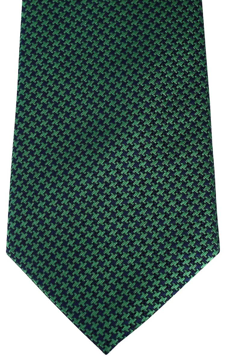 David Van Hagen Houndstooth Tie - Green/Navy