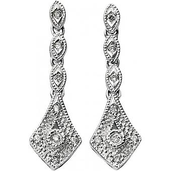 Elements Gold Exquisite 9ct White Gold Diamond Vintage Drop Earrings - Clear/White Gold
