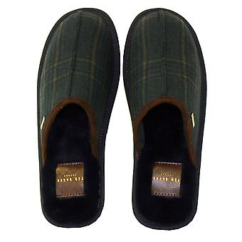 Ted Baker Youngi 2 Suede Slip-on Slippers, Dark Blue/Green Check