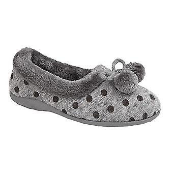 Sleepers Womens/Ladies Marge Extra Comfort Memory Foam Pom-Pom Polka Dot Cuff Slippers