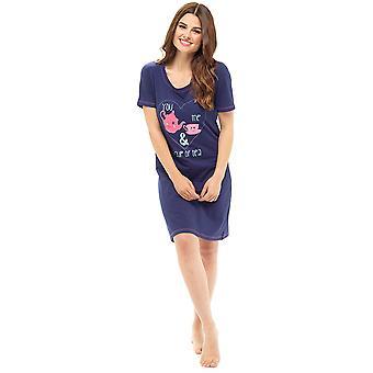 Ladies Polycotton Printed Slogan Design Short Sleeve Nightdress Nighty Sleepwear