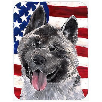 Akita USA Patriotic American Flag Glass Cutting Board Large Size
