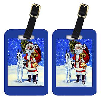 Pair of 2 Harlequin Great Dane with Santa Claus Luggage Tags