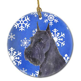 Schnauzer Winter Snowflakes Holiday Christmas Ceramic Ornament SS4661