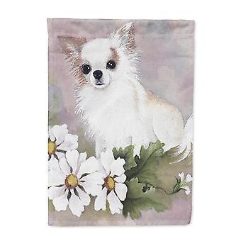 Carolines tesori MH1019GF Chihuahua bianco fiori bandiera giardino dimensioni