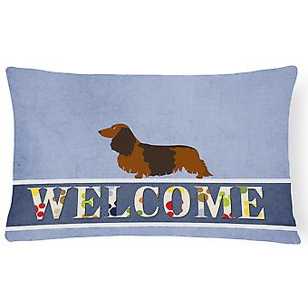 Longhaired Dachshund Welcome Canvas Fabric Decorative Pillow