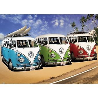 Volkswagen Калифорнии Camper Vans Плакат Плакат Печать