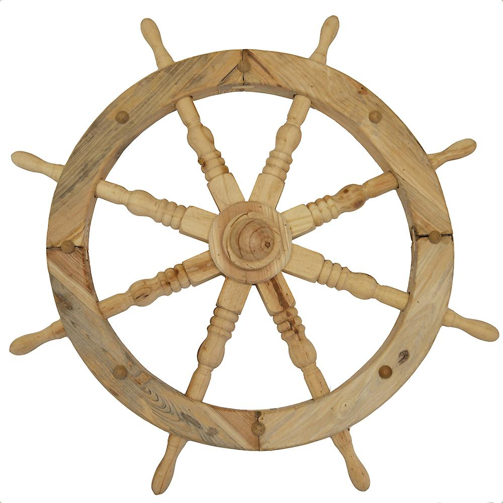 Ships Wheel - Solid Wood 78cm Nautical Garden Ornament - Natural