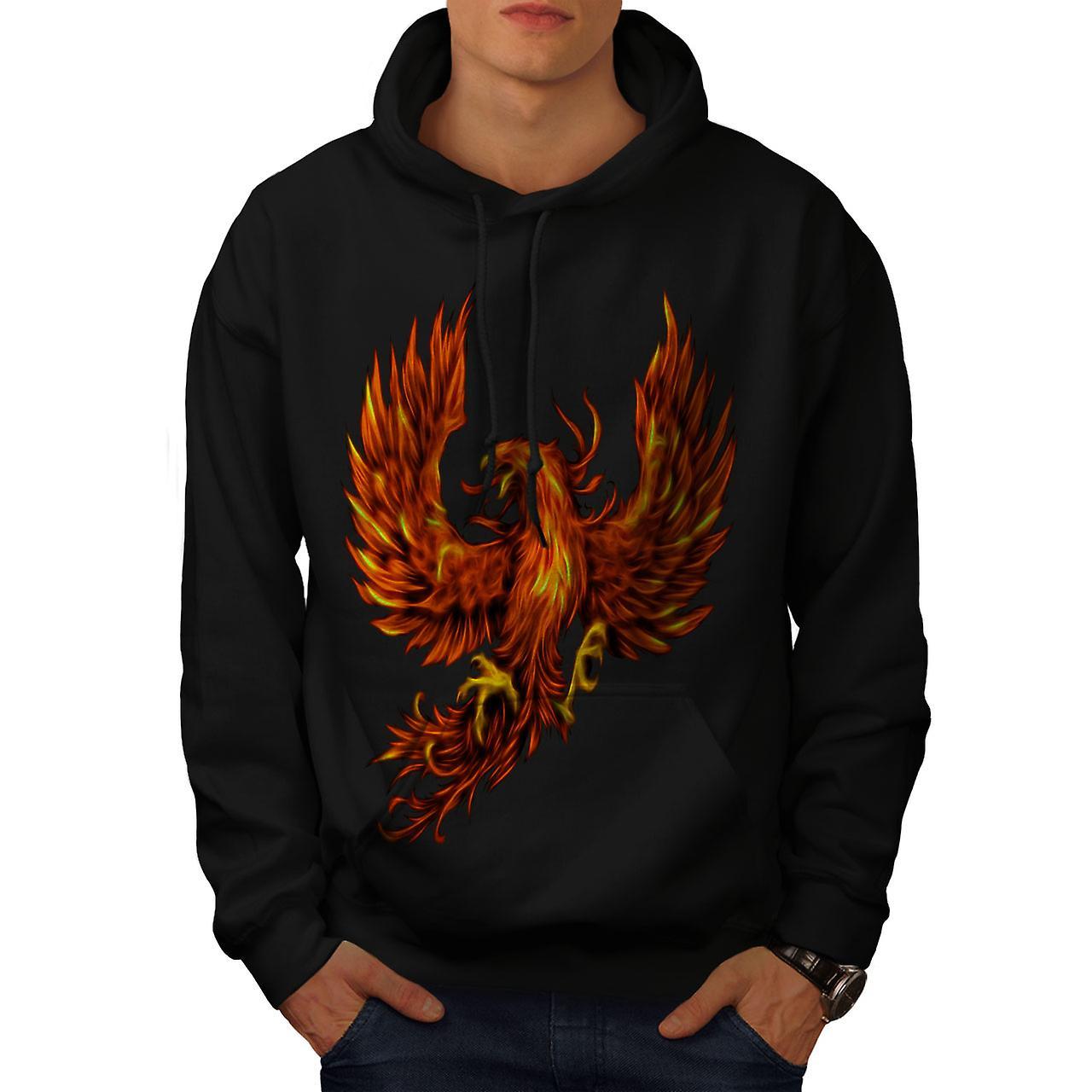 Fuego de Fénix Ave hombres BlackHoodie | Wellcoda