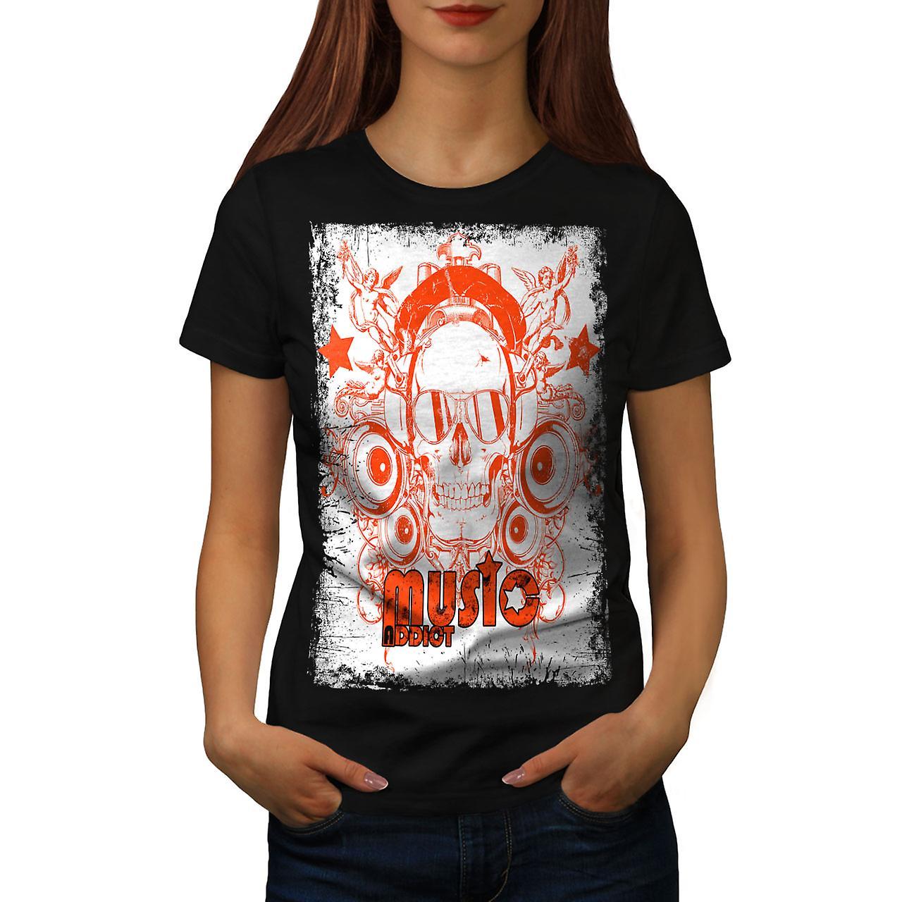 Skull Headphones Music Women Black T-shirt | Wellcoda