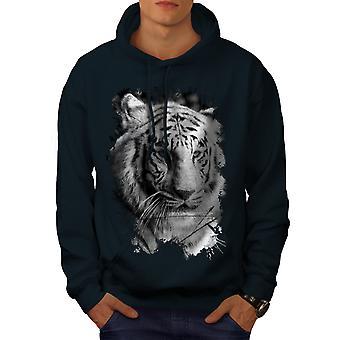 White Tiger Head Men NavyHoodie | Wellcoda