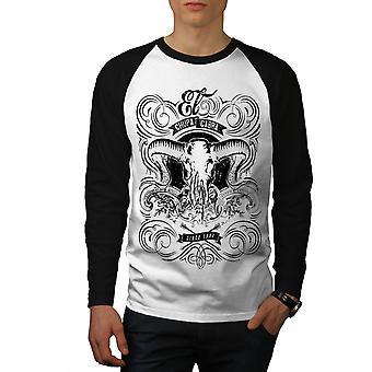 Chupacabra Fantasy Men White (Black Sleeves)Baseball LS T-shirt | Wellcoda