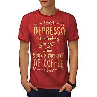 Depresso Coffee Men Heather Red / RedRinger T-shirt | Wellcoda