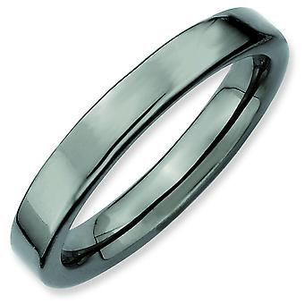 Sterling Silver Polished Ruthenium plating Stackable Expressions Black-plated Ring - Ring Size: 5 to 10