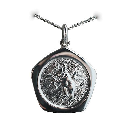 Silver 21mm five sided Taurus Zodiac Pendant with a curb Chain 24 inches