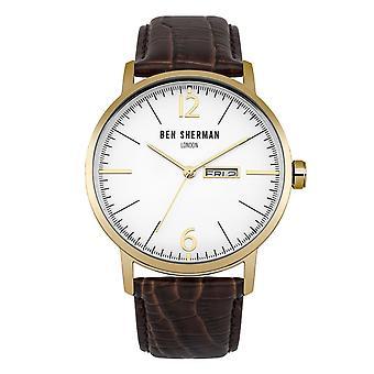 Ben Sherman Mens heren horloge bruin riem wit gezicht WB046TG