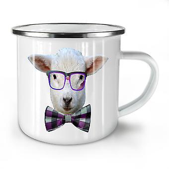 Nerd Sheep Face Animal NEW WhiteTea Coffee Enamel Mug10 oz | Wellcoda