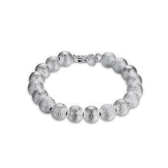 Ladies Textured Silver Plated Ball Bracelet Bangle