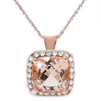 1 1 / 10ct Morganite pute Halo Diamond anheng 14K Rose gull