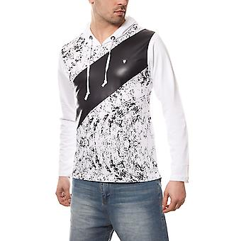 CARISMA speckled mens pullover Hoodie white slim fit