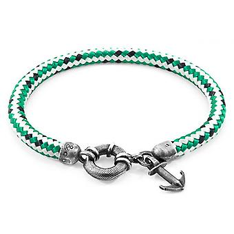 Anchor and Crew Salcombe Silver and Rope Bracelet - Green Dash