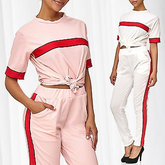 Ladies suit combination set T-Shirt Pants sports Playsuit stretch stretching Federal leisure suit