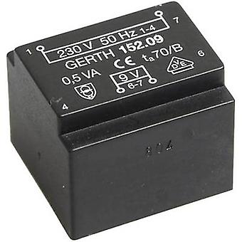 PCB mount transformer 1 x 230 V 1 x 9 V AC 0.50 VA 55 mA PT200901 Gerth