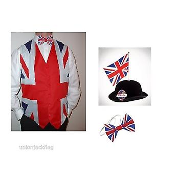 Union Jack Wear Union Jack Flag Waistcoat ,Bow Tie And Great British Bowler With Flag