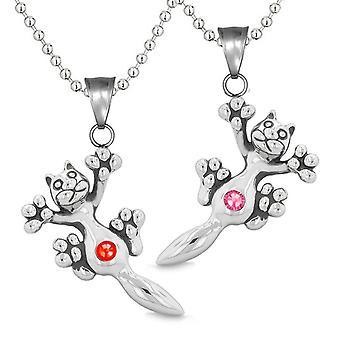 Amulette Cute Kitty Katze Liebespaare oder beste Freunde Set rot rosa funkelnde Kristalle-Halsketten