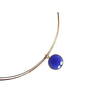 Gemshine-kvinner-halskjede-925 sølv-gullbelagt-Onyx-blå-CANDY