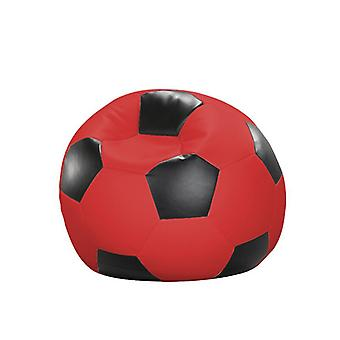 Bean bag cushion football red and black leatherette 90 x 90 x 90 cm