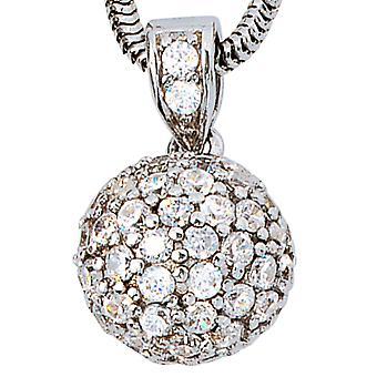 ペンダント銀米楼 925 スターリングシルバー ロジウム メッキ ♥ キュービックジルコニア ボール