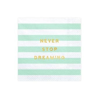 Paper Party Napkins x 20 Mint and White stripe 'Never Stop Dreaming'