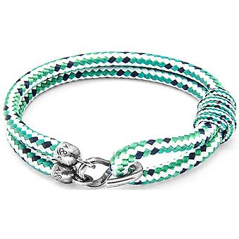 Anchor and Crew Great Yarmouth Silver and Rope Bracelet - Green Dash