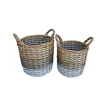 Set of 2 Round Triple Tone Chunky Wicker Storage Basket