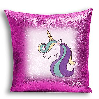 i-Tronixs - Unicorn Printed Design Pink Sequin Cushion / Pillow Cover with Inserted Pillow for Home Decor - 16