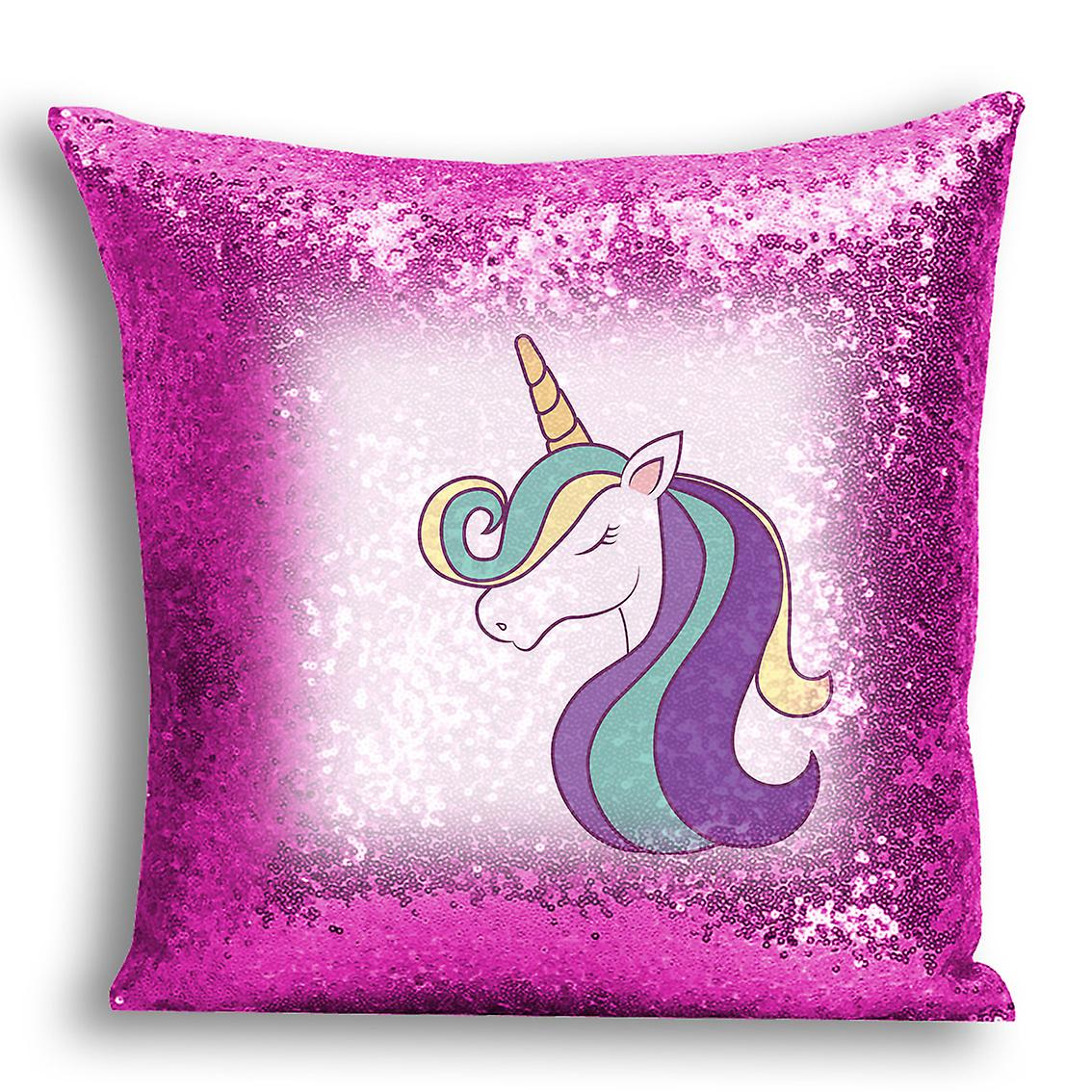 Decor 16 tronixsUnicorn Design Printed Pink I For Home CushionPillow Sequin Cover dQxrWECoBe
