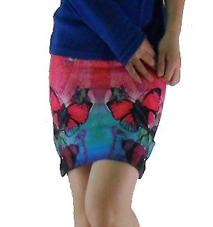 Waooh - Fashion - Short Skirt with butterflies on gradient background