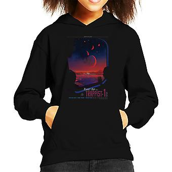 NASA Trappist 1e Interplanetary Travel Poster Kid's Hooded Sweatshirt
