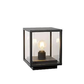 Lucide Claire Vintage Square Glass Anthracite Bollard Light