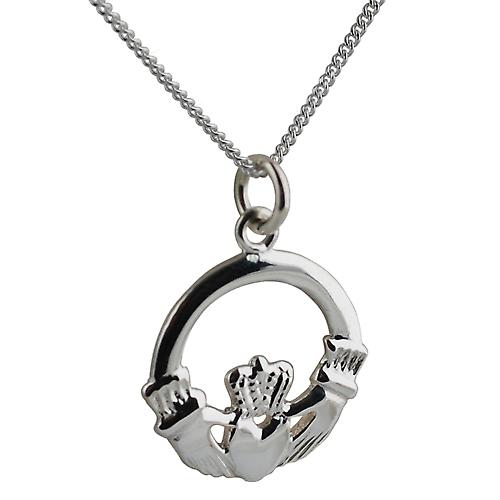 Silver 20mm Claddagh Pendant with a curb Chain 22 inches