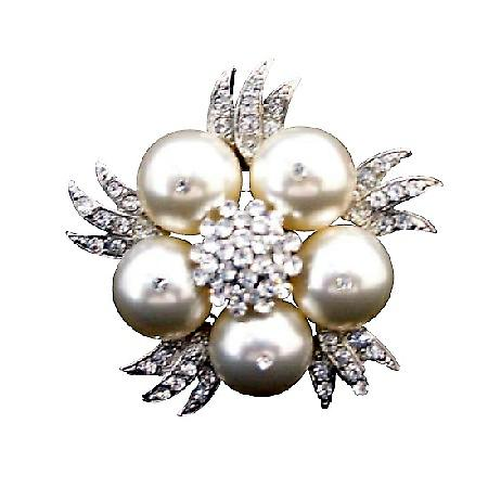 Swarovski Ivory Pearls Brooch Genuine Swarovski Pearls Wedding Brooch w/ Sparkling Simulated Diamond