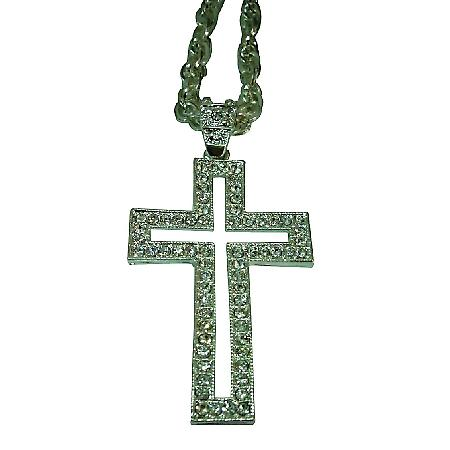 HipHop Cross w/ Clear Rhinestones Pendant Necklace