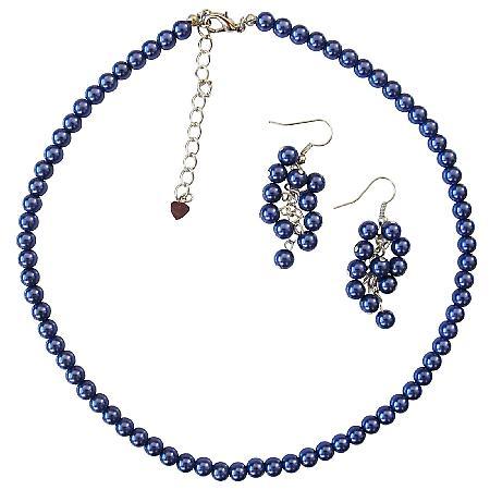 Blue Pearls Necklace Earrings Set Dark Blue Pearl Wedding Jwelry Set