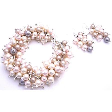 Gift Your Wife Swarovski Ivory Champagne Rosaline Pearls Bracelet