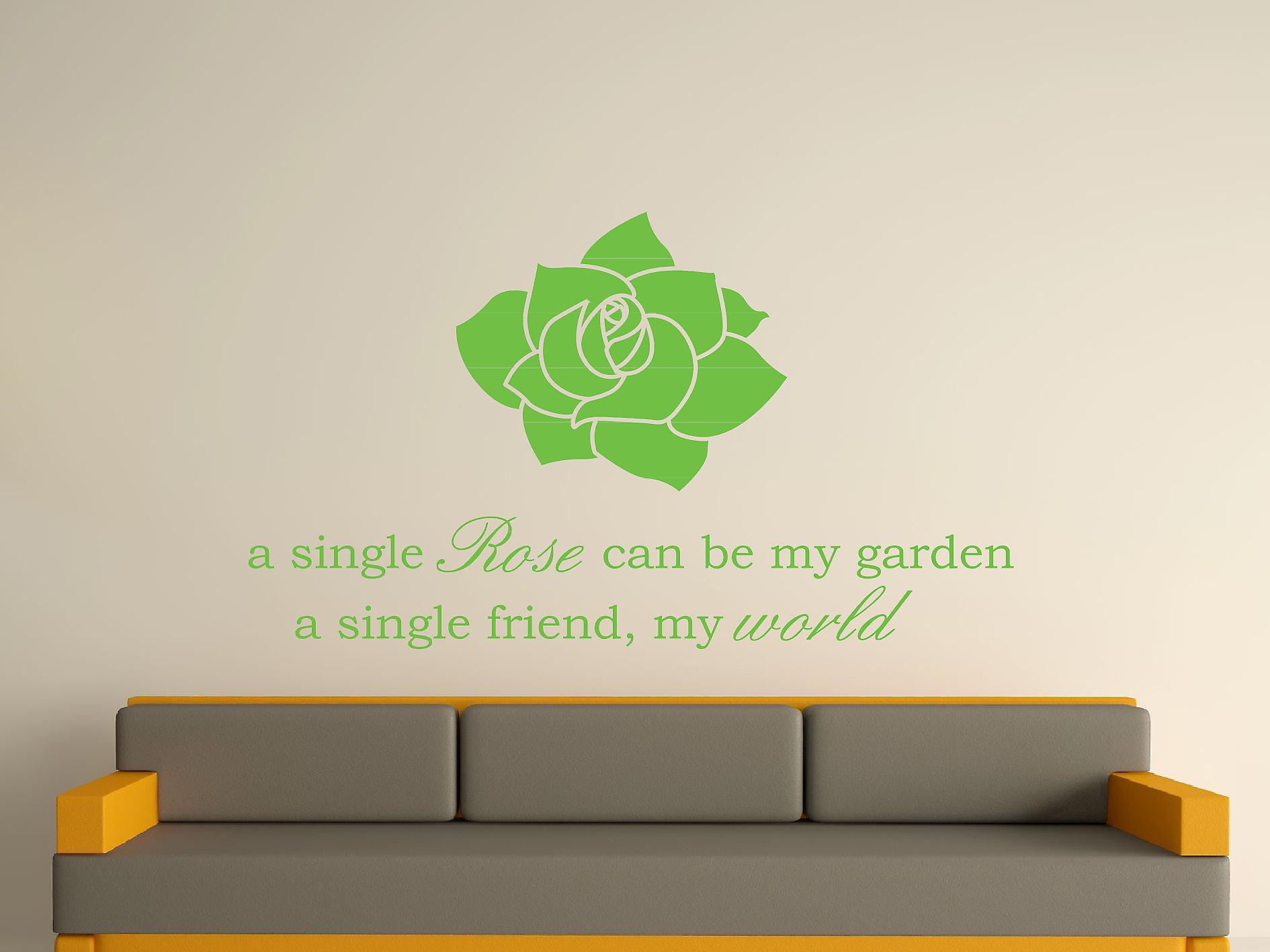 A Single Rose Wall Art Sticker - Apple Green
