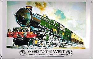GWR Speed to the West embossed metal sign