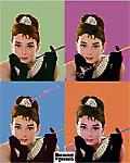 Audrey Hepburn (4 colours) metal sign (ga)