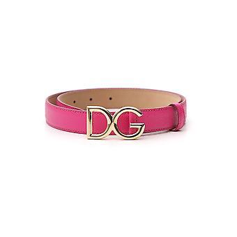 Dolce E Gabbana Fuchsia Leather Belt